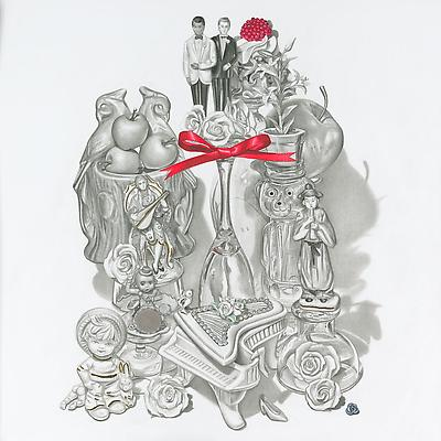 Melodie Provenzano Our Gay Wedding, 2010 Graphite, gouache, and 24k gold leaf on paper 11 x 11 inches Image