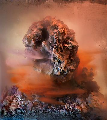 Kim Keever, Eroded Head 80d, 2010 edition of 10 + 1 AP c-print 27 x 24 inches Image