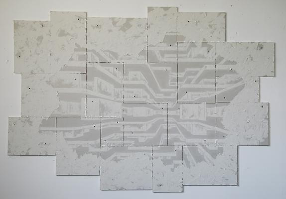 Cutaway #3, 2011 Joint compound on sheet rock 87 x 58 inches Image