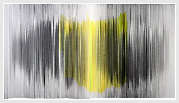 parallel 34, 2012 Graphite and colored pencil on cotton mat board 104 x 58 inches  Photo by EG Schempf Image