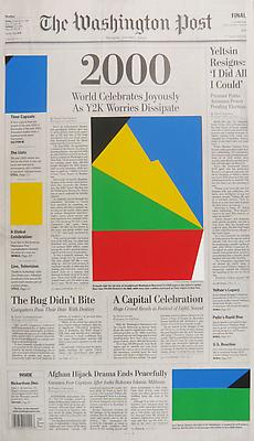 MARINE HUGONNIER Art For Modern Architecture - Washington Post, January 1, 2000, 2010 silkscreened paper to newspaper front page paper: 22  x 12 3/4 inches (55.9 x 32.4 cm) unique MH-3958