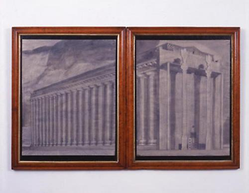 PABLO BRONSTEIN Neoclassical Building with New Facade in the Style of Michael Graves, 2005 ink, gouache and pencil on paper in artist's frame in 2 parts framed: 29 1/2 x 23 1/4 inches (74.9 x 59.1 cm) each PB-1