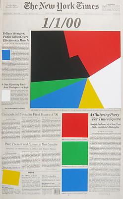 MARINE HUGONNIER Art For Modern Architecture - New York Times, January 1, 2000, 2010 silkscreened paper on newspaper front page paper: 22 1/4 x 13 1/2 inches (56.5 x 34.3 cm) unique MH-3959