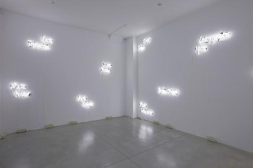 Installation view of  Joseph Kosuth 'Texts (Waiting for-) for Nothing'  Samuel Beckett, in play at Sean Kelly Gallery, New York March 30 - April 30, 2011 Gallery 1