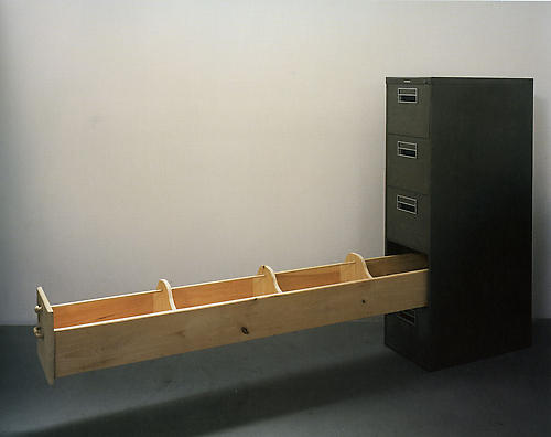 Gaveton / Big Drawer, 2001 metal and wood 36 3/4 x 30  x 54 inches (93.3 x 76.2 x 137.2 cm) LC-01D012