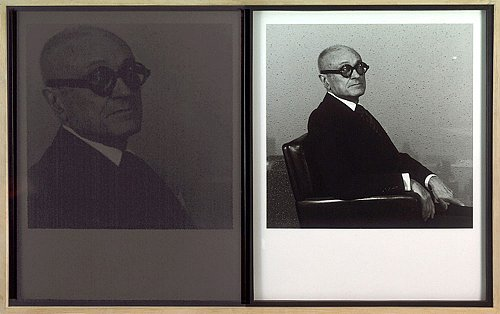 Philip Johnson, 1978 gelatin silver print framed: 21 3/4 x 22 x 1 3/4 inches  (55.2 x 55.9 x 4.4 cm) unique signed MAP-U263