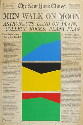 MARINE HUGONNIER Art For Modern Architecture - New York Times Man on the Moon, July 31, 1969, 2010 silkscreened paper on newspaper front page paper: 22 1/2 x 15 inches (57.2 x 38.1 cm) unique MH-3884