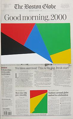 MARINE HUGONNIER Art For Modern Architecture - Boston Globe, January 1, 2000, 2010 silkscreened paper on newspaper front page paper: 22 1/4 x 13 1/2 inches (56.5 x 34.3 cm) unique MH-3954