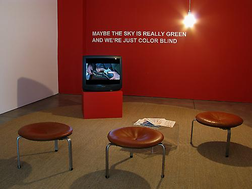 Installation view,  Gallery One				 Maybe the Sky is Really Green, and We're Just Color Blind YouTube-o-theque (Installation views of exhibition by Ben Polsky)