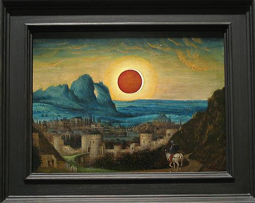 LAURENT GRASSO Studies into the past - Eclipse, 2010 oil on oak panel paper: 8 3/4 x 12 inches (22.2 x 30.5 cm) framed: 12 3/4 x 16 inches (32.4 x 40.6 cm) LG-42