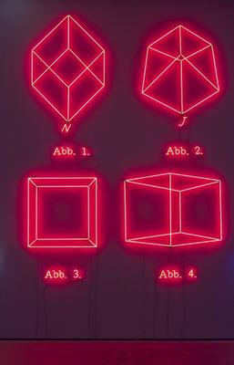 '1,2,3,4', 1993 neon, transformers, certificate of authenticity 141 3/4 x 103 3/4 inches (360 x 263.5 cm) JK-201