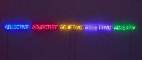 'Five Colors, Five Adjectives', 1965 neon, transformers, certificate of authenticity 4 x 184 inches (10.2 x 467.4 cm) JK-209