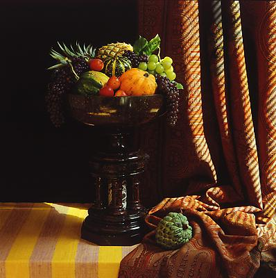Urn with Fruit, 1987 dye transfer print image: 18 3/4 x 18 1/2 inches (47.6 x 47 cm) paper: 24 x 20 inches (61 x 50.8 cm) edition of 7 with 1 AP MAP-DT1776 Selected by Montana participant