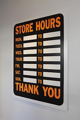 PETER LIVERSIDGE Store Hours, 2011 silkscreen on aluminum 63 x 48 inches (160 x 121.9 cm) edition of 3 with 2 APs signed and dated by the artist, verso PLi-55
