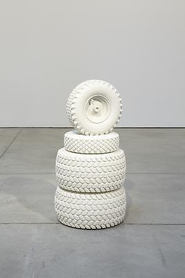 PETER LIVERSIDGE Tire Monument, 2011 found tires cast in marble dust resin 35 1/2 x 15 inches (90.2 x 38.1 cm) diameter edition of 3 with 1 AP (#1/3) PLi-68.1