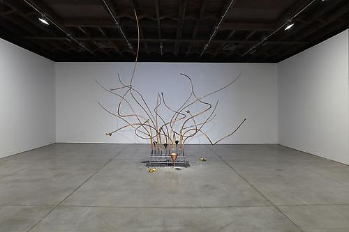 REBECCA HORN The Raven Tree, 2009-2011 copper, steel, coal powder, glass funnels, motors, electronic, controller, synthetic material, gold overall: 196 7/8 x 165 3/8 x 157 1/2 inches (500 x 420 x 400 cm) RH-SC-2034 Photography: Jason Wyche