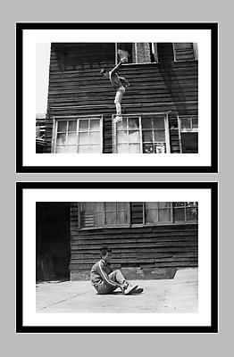 Jump Piece, 1973/2013 two framed gelatin silver prints mounted to 4 ply museum board image: 17 x 24 3/4 inches (43.2 x 62.9 cm) each paper: 20 x 27 3/4 inches (50.8 x 70.5 cm) each framed: 20 13/16 x 28 9/16 inches (52.9 x 72.5 cm) each edition of 25 with 5 APs signed by the artist in each case on label B, verso TEH-12a,b
