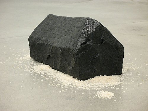 Rice House, 2007 black Indian granite, black smoke, sunflower oil and rice 6 5/8 x 7 1/2 x 14 5/8 inches  (17 x 19 x 37 cm) WL-37