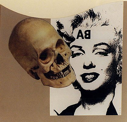 RAY JOHNSON Untitled (Skull with Marilyn), 1992 collage on cardboard panel unframed: 8 3/4 x 9 1/8 inches  (22 x 23 cm) framed: 11 1/4 x 11 5/8 inches  (29 x 30 cm) RJo-2
