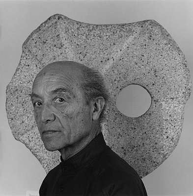 Isamu Noguchi, 1986 gelatin silver print image: 19 1/4 x 19 1/4 inches  (48.9 x 48.9 cm) paper: 24 x 20 inches  (61 x 50.8 cm) edition of 10 with 2 APs MAP-1627