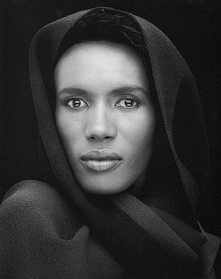 Grace Jones, 1975 gelatin silver print image: 23 x 19 1/4 inches  (58 x 49 cm) paper: 20 x 24 inches  (51 x 61 cm) edition of 10 with 2 APs MAP-1907