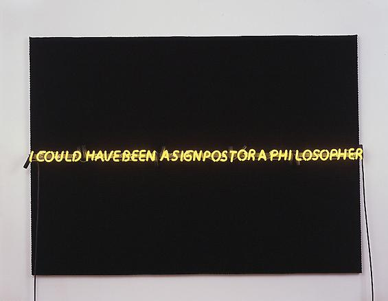 i could have been a signpost or a philosopher 2006 hand woven fabric, neon lighting 108 x 150 x 2.5 cm