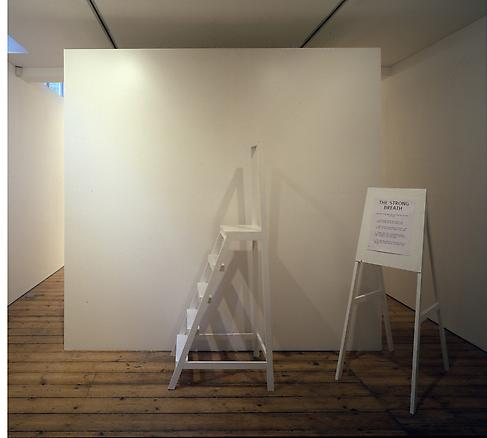 The White Cube 1993 - 2005 mixed media 2 ladders 76 x 47 x 180 cm 1 easel 84 x 47 x 145 cm 2 little boats the white cube 266 x 266 x 345 cm