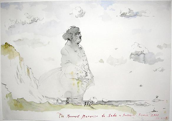The Monument Marquise de Sade in Southern France 2007 watercolor and ink on paper 35 x 50 cm