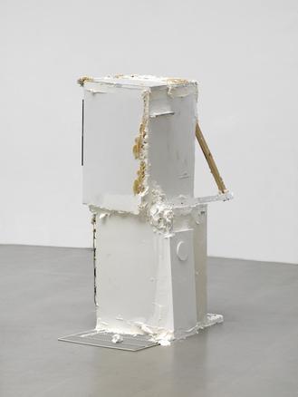 Thomas Rentmeister  Untitled, 2014 refrigerators, polyurethane foam, Penaten baby cream Styrofoam, plastic, wood, wire, chocolate biscuits, Nutella 175 cm h