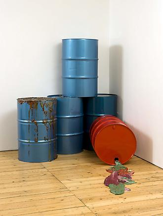 Light Crude 2010 oil drums and acrylic paint slick each drum 87 x 58 (d) cm