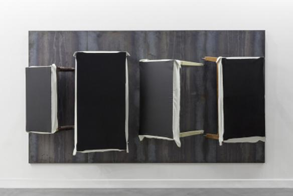 Untitled  2007 iron panels, wooden tables, fabric, oil, canvas and wire 200 x 360 x 70 cm