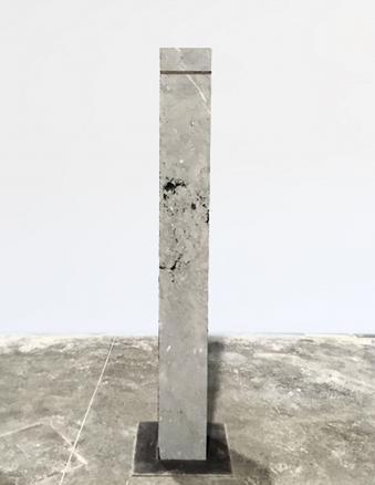 Ash Horizon I,  2018 sahara grey stone, ash of cigars 166 x 20 x 20 cm