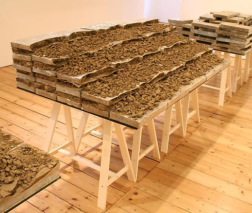 Apprehension Table #1 (wall) 2008 earth, tape, glass, wood 102.5 x 180 x 107 cm