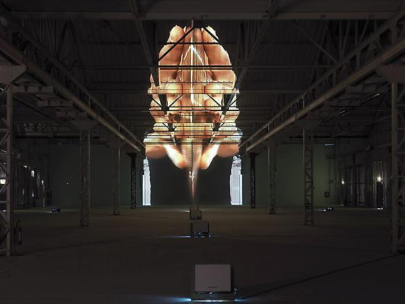 fatica n. 16 2008 HangarBicocca, Milan installation view Audio-visual installation: 7 video projectors, 7 DVD players, 1 audio mixer, 3 amplifiers, 6 speakers, 1DVD synchroniser, 6 subwoofers