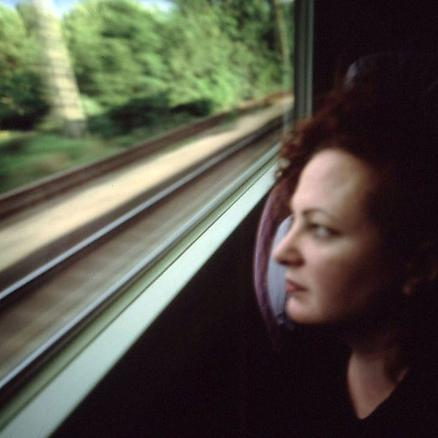 Self-portrait on the train, Boston - New Haven 1997 cibachrome print