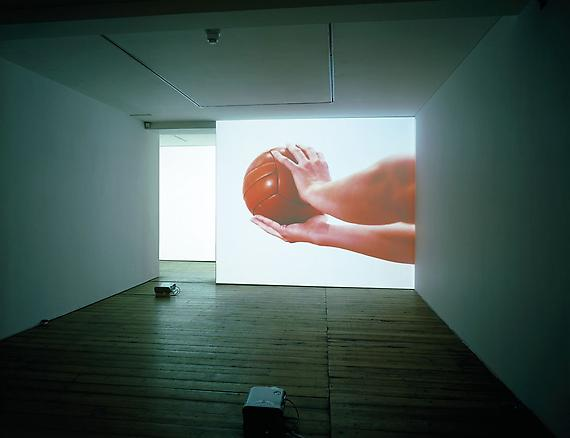 fatica n. 19 2003 Sprovieri Gallery, London installation view audio-visual installation: 2 video projectors, 2 DVD playesr, 1 audio mixer, 1 amplifier, 2 speakers, 1 subwoofer