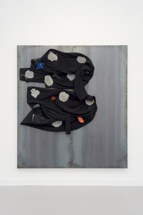Untitled 2008 iron panel, coats, lead, glass, iron wire 200 x 180 cm