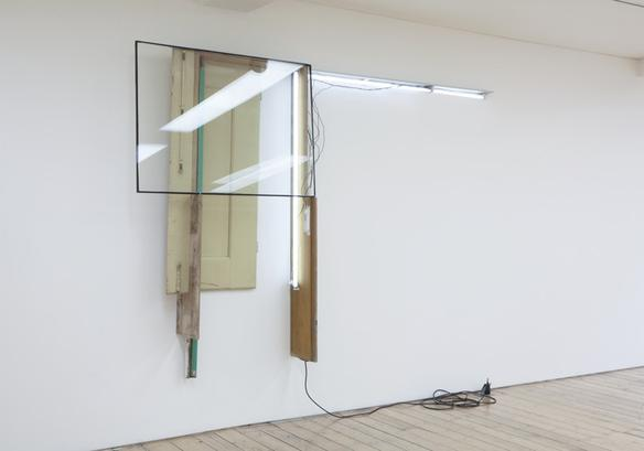 undisclosed #1  2008 glass, aluminium, acrylic on wood, found wood objects, armatures, fluorescent lamps, electric cables 206 x 312 x 34 cm