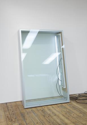 leaning frames #3 2014 aluminium frames, glass, MDF, armature, fluorescent light and electric cables 200 x 125 x 67 cm
