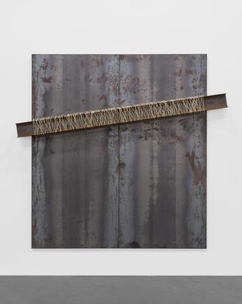 Untitled 2013 iron panel, iron beam, string 200 x 180 cm