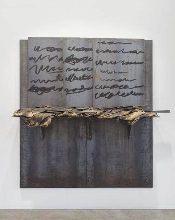 Untitled 2004 iron panels, oil sticks and burlap sacks 200 x 200 x 56 cm