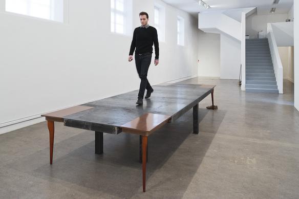 Mare della tranquillità, 2013 metal, wood 500 x 178 x 75 cm  Exhibition view at Frac Champagne-Ardenne, Reims 2013