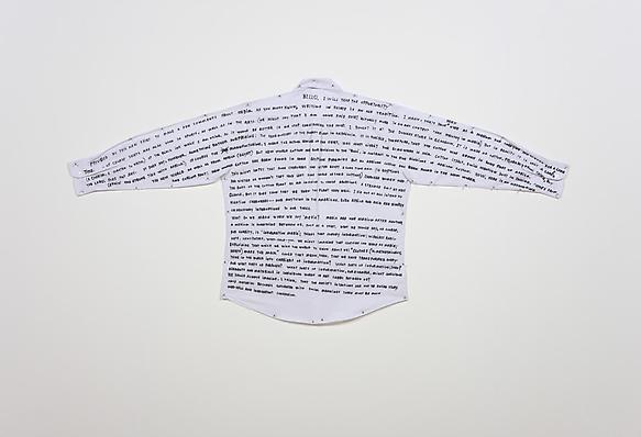Shirt Poem 2010 black ink on white shirt 85 x 174 cm