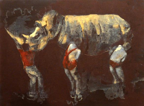 Lifting the Rhino 2010 oil on gesso and wood 46 x 60 cm