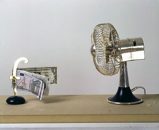 Domestic fART 2004 silver fan, ebony, gold, bank notes dimensions variable