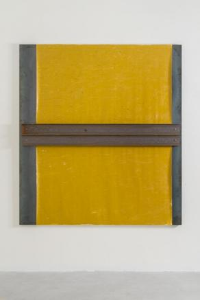 Untitled 2014 iron panel, oil on canvas and steel beam 200 x 180 cm