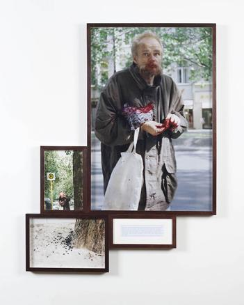Man with Cherries from the series 'Look at me I look at water' 1999 c-print and paper 115 x 78 cm