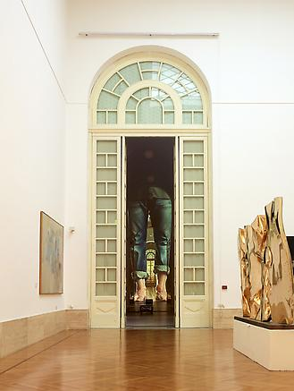 fatica n. 23 2010 Galleria nazionale d'arte moderna, Rome installation view Audio-visual installation: 4 video projectors, 4 DVD players, 1 audio mixer, 2 amplifiers, 4 speakers, 1 DVD synchroniser, 4 subwoofers