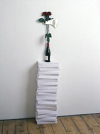 History of Emotions 2006 paper, wine bottle, silver axe and a red rose 168 x 30 x 21 cm