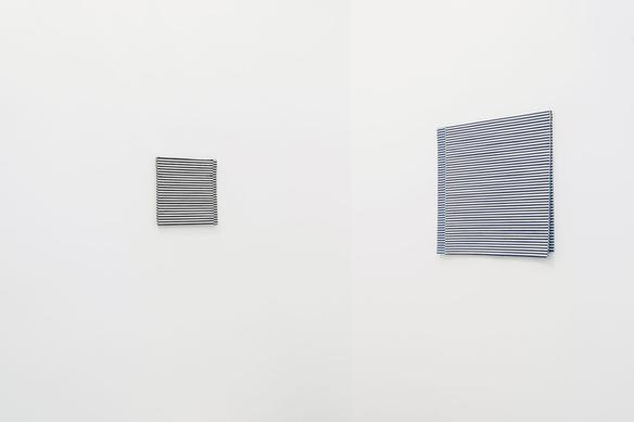 10AZ 10AZ (series a-ante-após-até) 2011 acrylic on stripe fabrics 50 x 49 x 2 cm and 26 x 26 x 2 cm